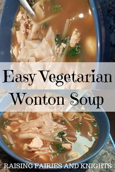 Easy Vegetarian Wonton Soup - Why should meat-eaters have all the wonton soup fun? Try this easy vegetarian wonton soup recipe, sure to please the whole family and super tasty!