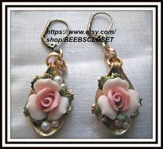 Flower Earring  Floral earrings Victorian style  by BEEBSCLOSET