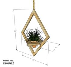 West Elm Modern Hanging Planter Knock-Off West Elm, Diy Wood Projects, Diy Projects To Try, Wood Crafts, Wooden Planters, Hanging Planters, Diy Plant Stand, Plant Stands, House Plants Decor