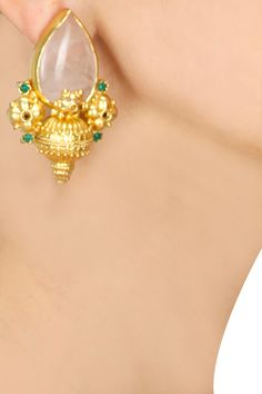 Gold plated rose pear earrings by Amrapali. Shop now: www.perniaspopups.... #jewellery #designer #amrapali #earrings #gorgeous #shopnow #perniaspopupshop #happyshopping