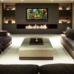 Modern units in living room modern 40 Contemporary Living Room Ideas — RenoGuide - Australian Renovation Ideas and Inspiration Fireplace Tv Wall, Fireplace Design, Linear Fireplace, Fireplace Stone, Fireplace Ideas, Fireplace Mantels, Living Room Tv, Living Room With Fireplace, Living Room Ideas Tv Wall