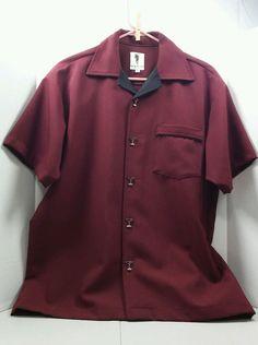 Bartender cocktail martini time dress shirt short sleeve size Medium burgundy #SpanishHarlem #Rockabilly