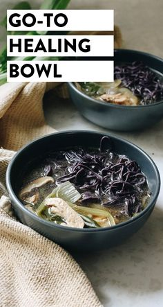 Feeling a little under the weather or in need of a good immune-boost for cold and flu season? This is my go-to healing bowl full of healthy ingredients like mushrooms miso chicken broth and veggies. The Healthy Maven, Healthy Eating, Healthy Steak, Recipes Without Fire, Couscous Healthy, Recipes Using Rotisserie Chicken, Slow Cooker Balsamic Chicken, Clean Eating Recipes For Dinner, Miso Chicken