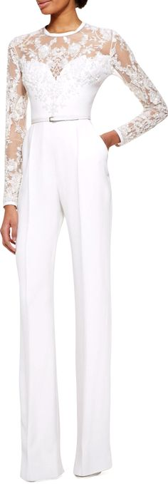 ELIE SAAB | Long Sleeve Lace-embellished Jumpsuit |  Jasmine White