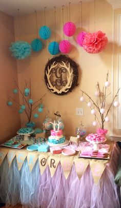 Candy table for our Buck or Doe Gender Reveal