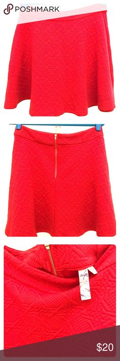 Bright Red Skirt Bright red skirt from Francesca's. The skirt is a size L and has never been worn. Made with soft material and easy to love! Francesca's Collections Skirts Circle & Skater