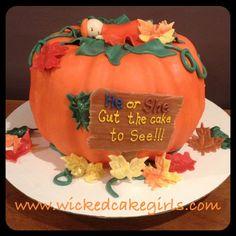 Gender reveal pumpkin thanksgiving cake by www.wickedcakegirls.com