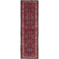 eCarpetGallery Hosseinabad Blue/Multicolor Wool Hand-knotted Rug (3'1 x 10'2) (Blue Dark Navy Blue Rug (3' x 10')), Size 3' x 10' (Cotton, Oriental)