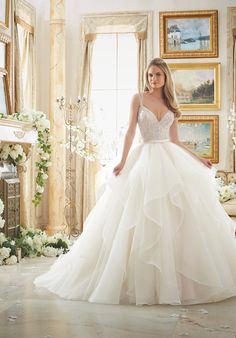 Mori Lee Bridal Gown 2887 Dazzling Beaded Bodice on Flounced Tulle and Organza Ball Gown Wedding Dress Klienfeld Wedding Dresses, Strappy Wedding Dress, Layered Wedding Dresses, Wedding Gowns With Sleeves, Long Sleeve Wedding, Bridal Gowns, Gown Wedding, Beautiful Gowns, Beautiful Bride