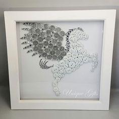 Pegasus Button Art White and Silver Pegasus Wall Art White