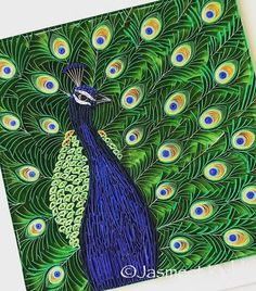 Peacock paper quilling by Jasmeet Kohli Quilling Images, Quilling Videos, Paper Quilling Patterns, Quilled Paper Art, Quilling Techniques, Origami Paper, Quilling Dolls, Quilling Animals, Neli Quilling