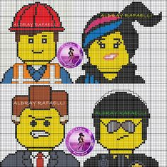 The Lego Movie characters perler bead pattern- includes Emmet, Wyldstyle/Lucy, President Business and Good/Bad Cop!
