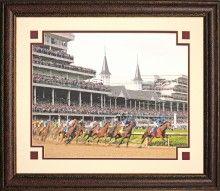 Kentucky Derby 1st Turn Color Photo Framed