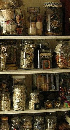 Sewing Room Jars. to store the pretties. :)