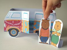 Camper van and characters Digital Download by CutoutCritters Double Sided Sticky Tape, Free Fun, Make Time, Stuff To Do, Things To Sell, Camper Van, Make Your Own, Paper Crafts, Characters