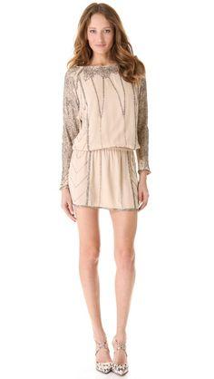 This is gorgeous.. Haute Hippie  Beaded Roses Dolman Mini Dress
