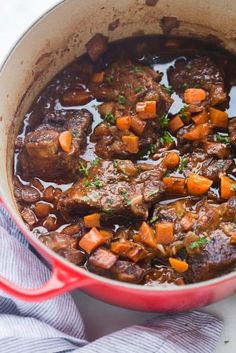 The EASIEST fall-off-the-bone Braised Short Ribs! Tender cooked ribs in a delicious, rich sauce, served over creamy mashed potatoes. All cooked in just one pot! | Tastes Better From Scratch