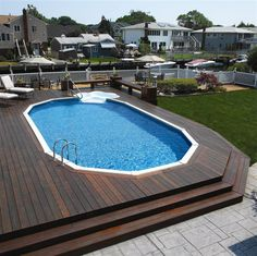Above Ground Pools Decks Idea | Semi In ground Pools with Natural Materials : Modern Wooden Deck ...