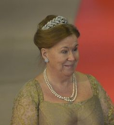 The youngest daughter of Juliana and Henry, Princess Christina, wearing the laurel wreath tiara to the inauguration of her nephew, Willem-Alexander in 2013.