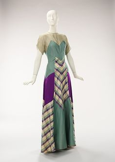 early 1940's dress fashion style 40s gown patchwork green purple chevron