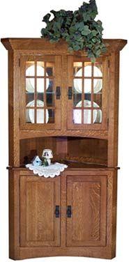 Barn wood corner cabinet e braun farm tables and for Mission style corner hutch