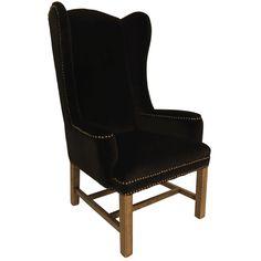 Pure opulence Knightsbridge wing back black velvet dining chair $950