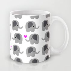 Coffee Mug Elephants with Hearts - Elephant Love - 11 oz - 15 oz - Ceramic Mug - Lots of Elephants - Made to Order by ShelleysCrochetOle on Etsy