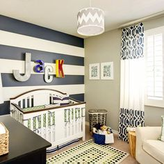 stripes & taupe wall. Sweet Evan Room Colors