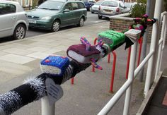Knitted books! CDA Public Library is doing a yarn bombing thing on Fridays if you're interested -- details at CDA Yarn and Fiber or the Library.