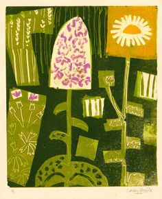 common spotted orchid & oxeye daisy -   - monotype  -