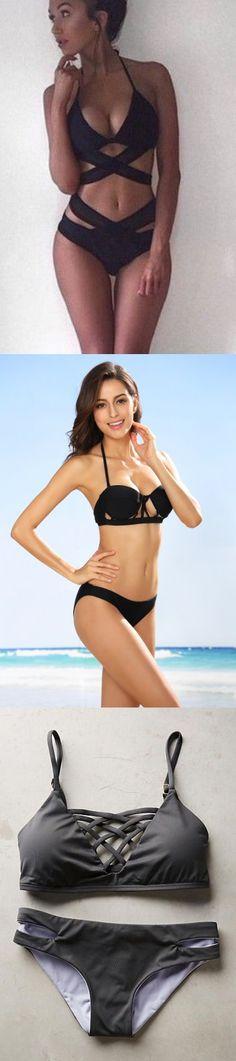 Sexy Fashion Bikini, Black Beach Bikini, Solid Bikini Swimsuit, Two Piece Front Cut Bikini