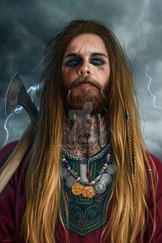 male human warrior / viking / barbarian battle axe eye make up, tattoos, armour character inspiration for DnD / Pathfinder (Jade Empire? Fantasy Male, High Fantasy, Fantasy Warrior, Fantasy Rpg, Medieval Fantasy, Fantasy Portraits, Character Portraits, Character Art, Vikings