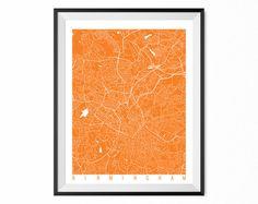 BIRMINGHAM Map Art Print / England Poster / by CityMapArt on Etsy
