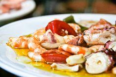 "Salpicón, a chilled ""salad"" of sorts, dressed in vinegar, salt and olive oil #SpanishCuisine #Food #Travel #SpanishFood"