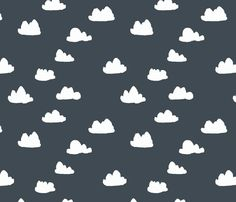 Clouds on Navy fabric by papersparrow on Spoonflower - custom fabric