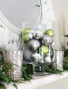 Green | Silver | Christmas Ornaments | Green and Silver Christmas