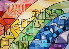 Jerusalem Rainbow Acrylic Tray by Kuvin Oren Art by Jeanette Kuvin Oren - Medium 15 x 12 Jewish Crafts, Jewish Art, Needlepoint Patterns, Needlepoint Canvases, Jerusalem, Arte Judaica, Rainbow Art, Challah, Framed Art Prints