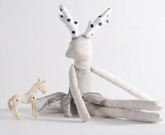 Deer Girl, Grey Doll, Handmade OOAK Doll, Made to order on Etsy, US$75.00