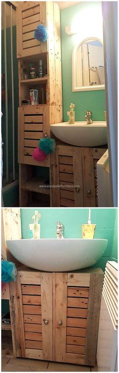 This bathroom storage idea with wood pallets is great. This craft allows you to place all washroom items placed inside. We have incorporated with several cabinets so that you can place all needed items inside. Color it to give your surrounding more fresh and bright look.