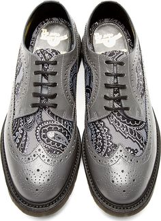 Dr. Martens: Grey Leather Paisley Longwing Brogues