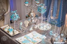 White Baby Showers, Tables, Candy, Table Decorations, Desserts, Food, Mesas, Tailgate Desserts, Deserts