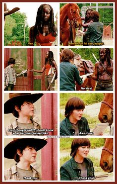 The Walking Dead - Carl Grimes - Chandler Riggs  and Michonne - Danai Gurira