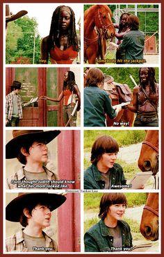 The Walking Dead - Carl Grimes - Chandler Riggs  and Michonne - Danai Gurira