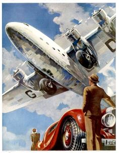 """Vintage Planes An Armstrong Whitworth """"Ensign"""" of Imperial Airways Takes Off Giclee Print - Vintage Travel Posters, Vintage Ads, Vintage Trends, Illustrator, Vintage Airplanes, Arte Pop, Aviation Art, Belle Epoque, Canvas Prints"""