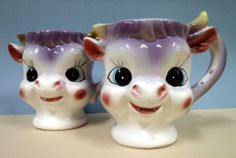 Your place to buy and sell all things handmade Purple Cow, Cow Creamer, Jack Black, Matching Set, Cows, Kitsch, Vintage Fashion, Tea, Coffee