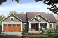 Single story craftsman style house plan.  plan 21-246