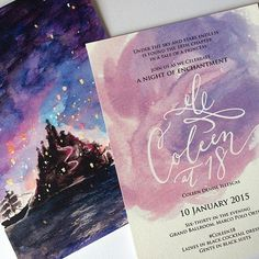DEBUT: Coleen at 18 Invitation Suite -- Sky Lanterns, Tiaras, and Castle-Themed Invitation by Ink Scribbler 18th Debut Theme, 18th Debut Ideas, Debut Themes, Tangled Wedding, Tangled Birthday, Tangled Party, Disney Wedding Invitations, Birthday Invitations, Quince Invitations