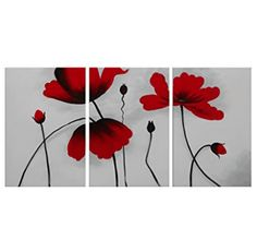 FLY SPRAY Hand-Painted Oil Paintings Panels Stretched Framed Ready Hang Elegant Red Flower Blossom Modern Abstract Canvas Living Room Bedroom Office Wall Art Home Decoration Office Wall Art, Office Walls, Bedroom Office, Abstract Canvas, Oil Painting On Canvas, Oil Paintings, Blossom Flower, Flower Art, Living Room Bedroom