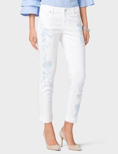 Signature Fit  Embroidered Floral Boyfriend Jeans (original price, $36.00) available at #Dressbarn