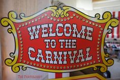 The Partiologist's Summer / Circus/Carnival - Photo Gallery at Catch My Party Carnival Signs, Carnival Themes, Circus Theme, Vintage Circus Party, Vintage Carnival, Carnival Birthday, Birthday Parties, Homecoming Themes, Clowning Around